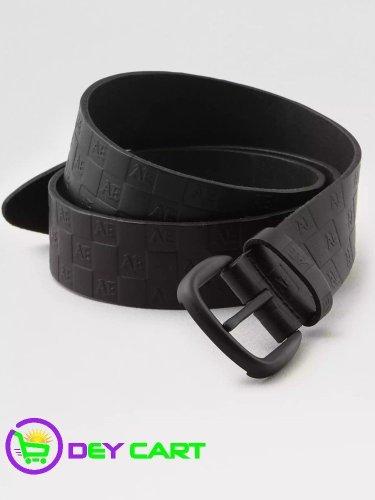 American Eagle Leather Checkered Logo Belt - Black