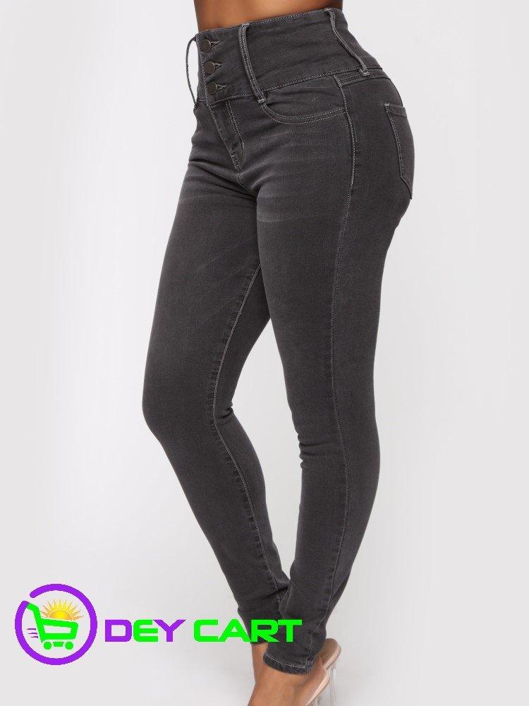 Fashion Nova 3 Button High Rise Skinny Jeans - Charcoal 1