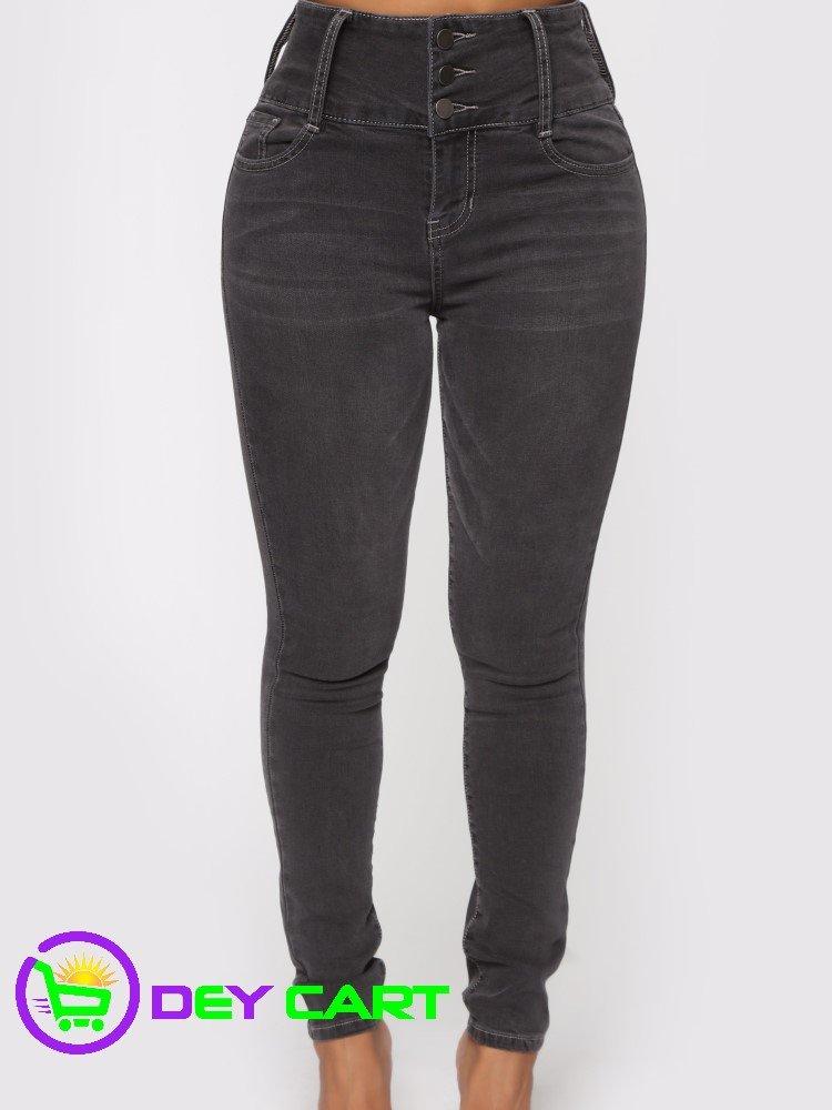 Fashion Nova 3 Button High Rise Skinny Jeans - Charcoal