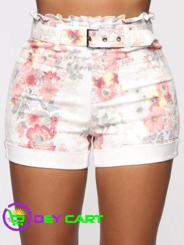 Fashion Nova Belted Ruffle Waist High Rise Short - White 0