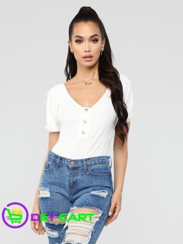 Fashion Nova Bubble Sleeve Button Front Bodysuit - Ivory