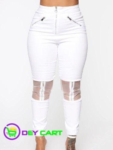 Fashion Nova Clear Panel Accents High Rise Jeans - White