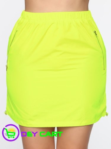 Fashion Nova Double Zipper Mini Skirt - Neon Yellow 0
