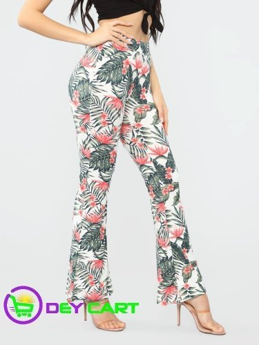 Fashion Nova Floral Printed Flare Pants - White