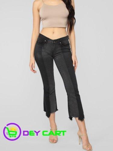 Fashion Nova Fray Hem Mid Rise Jeans - Black 0