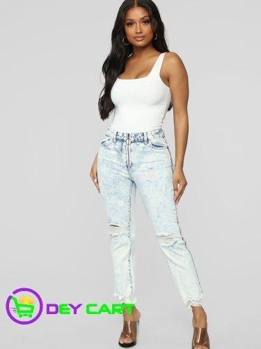 Fashion Nova High Rise Boyfriend Jeans - Bleach Wash Blue 0