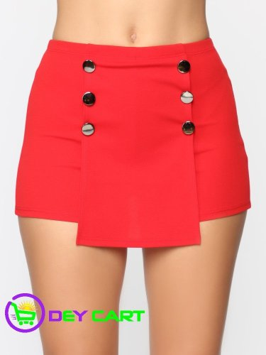 Fashion Nova High Rise Exposed Buttons Skort - Red 0
