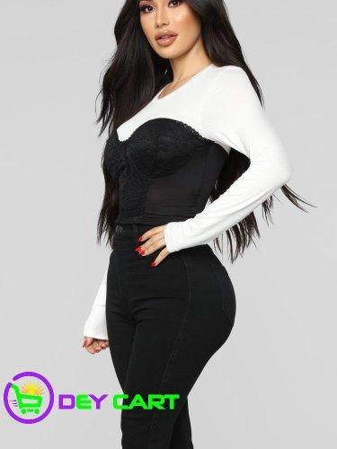 Fashion Nova Lace Detail Cropped Top - White/Black