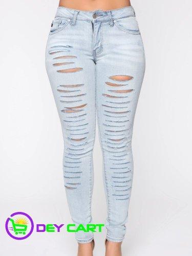 Fashion Nova Low Rise Distressed Skinny Jeans - Light Wash Blue