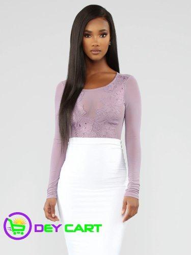 Fashion Nova Mesh Long Sleeve Crochet Bodysuit - Lavender