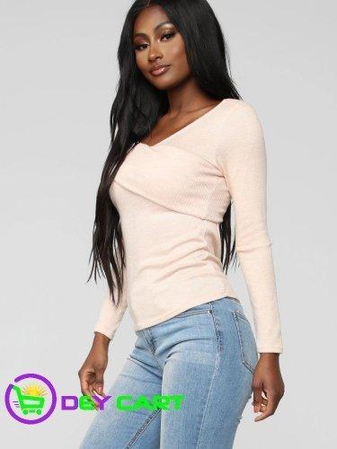 Fashion Nova One Side Shoulder Long Sleeve Top - Blush