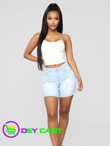 Fashion Nova Rolled Cuff Bermuda Shorts - Light Wash Blue 0