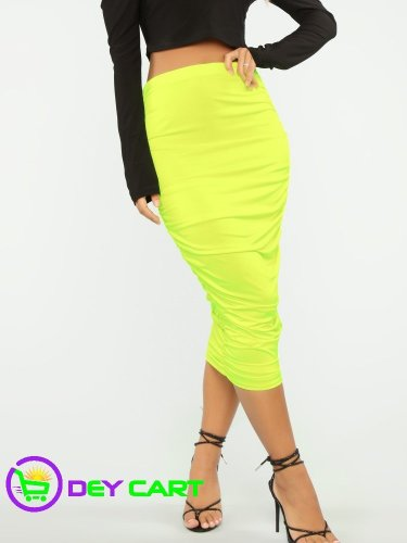 Fashion Nova Ruched Detail High Rise Midi Skirt - Neon Yellow 0