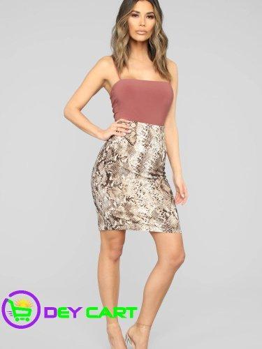 Fashion Nova Snake Print High Rise Midi Skirt - Tan/Multi