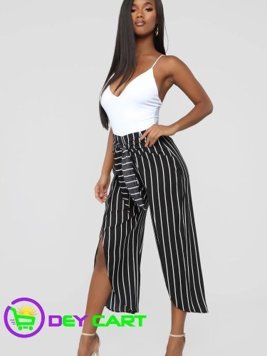 Fashion Nova Stripe Tie Waist Pants - Black/White 0