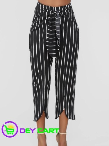 Fashion Nova Stripe Tie Waist Pants - Black/White