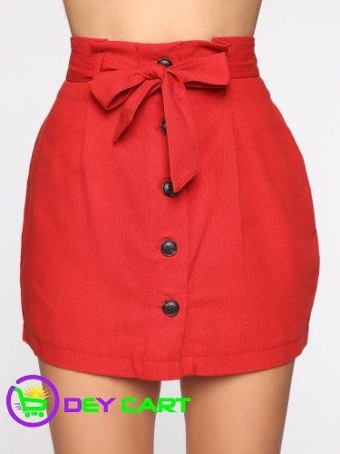 Fashion Nova Tie Waist Linen Skirt - Rust 0