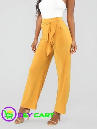 Fashion Nova Tie Waist Pants - Mustard