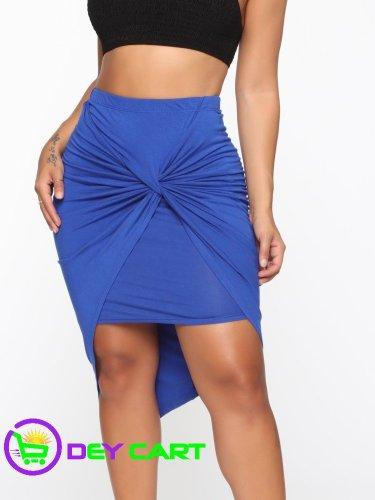 Fashion Nova Twist Knot Midi Skirt - Royal Blue 0