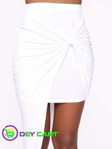 Fashion Nova Twist Knot Midi Skirt - White 0