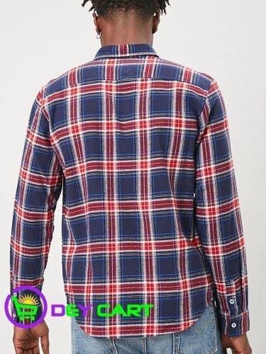 Forever21 Classic Plaid Flannel Shirt - Navy/Red 1
