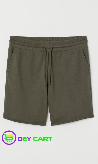 H&M Raw-edged Sweat shorts - Khaki Green 0