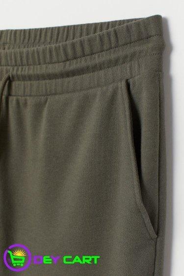 H&M Raw-edged Sweat shorts - Khaki Green