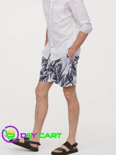 H&M Relaxed Fit Cotton Shorts - White/Grey patterned 0