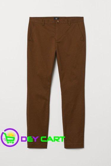 H&M Slim Fit Cotton Chinos - Brown 0