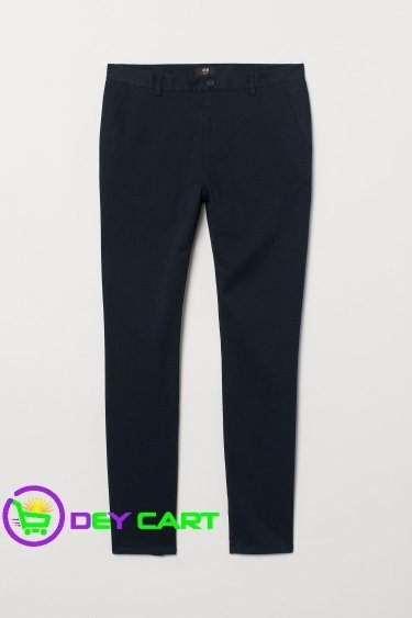 H&M Slim Fit Cotton Chinos - Dark Blue 0