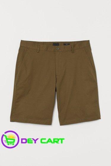 H&M Slim Fit Cotton Shorts - Khaki Green 0