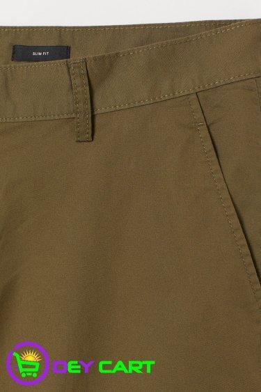 H&M Slim Fit Cotton Shorts - Khaki Green