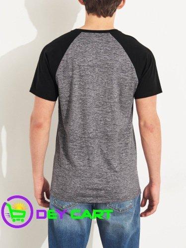 Hollister Raglan Logo T-Shirt - Heather Grey & Black 1