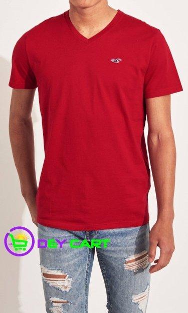 Hollister V-Neck Logo T-Shirt - Red 0