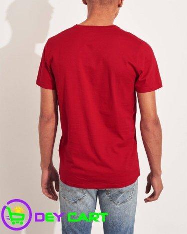 Hollister V-Neck Logo T-Shirt - Red 1