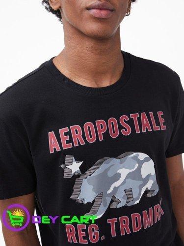 Aeropostale 3D Camo Bear Logo Graphic Tee - Black 0