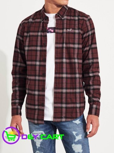 Hollister Stretch Poplin Slim Fit Plaid Shirt - Burgundy 0