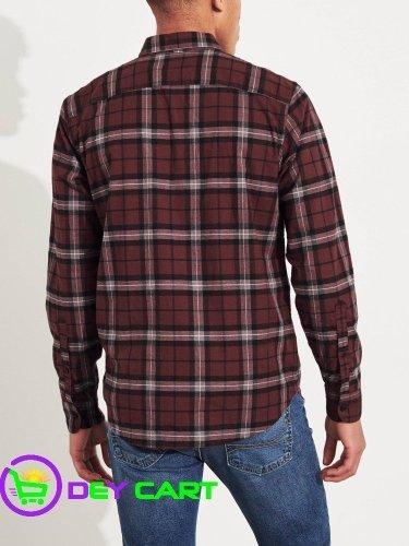 Hollister Stretch Poplin Slim Fit Plaid Shirt - Burgundy