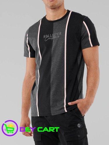Hollister Stripe Logo Graphic Tee - Black and Grey 0