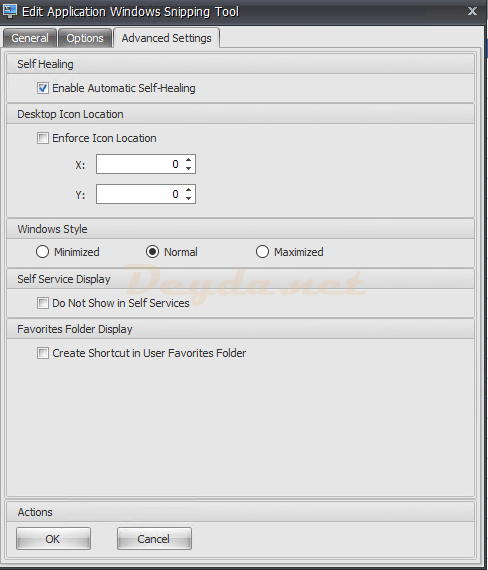 Actions Applications Advanced Settings