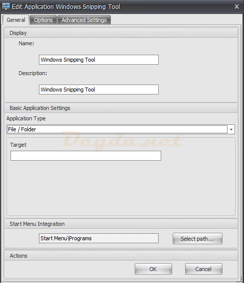 Actions Applications General File / Folder