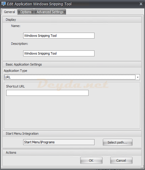 Actions Applications General URL