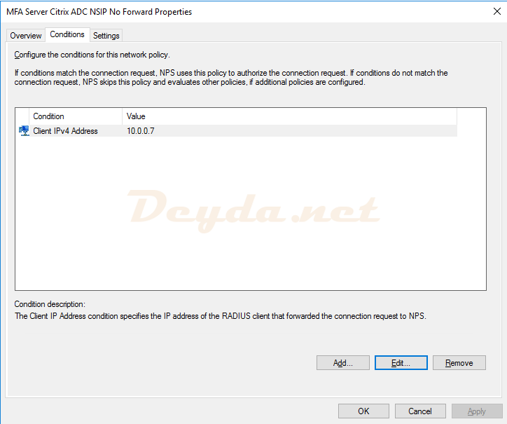 Connection Request Policies Conditions