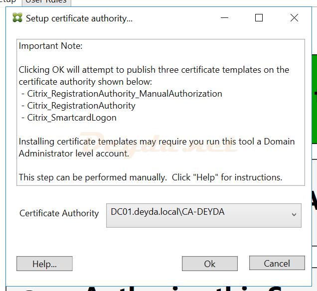 Setup certificate authority FAS Server