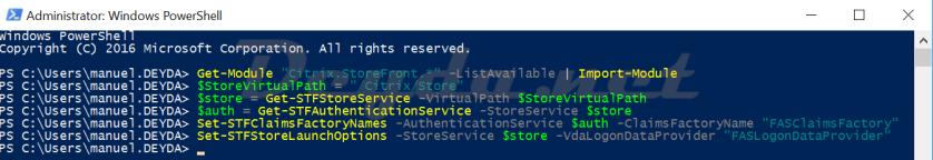 "Windows Power Shell FAS Get-STFAuthenticationService Set-STFClaimsFactoryNames -AuthenticationService $auth -ClaimsFactoryName ""FASClaimsFactory"" Set-STFStoreLaunchOptions -StoreService $store -VdaLogonDataProvider ""FASLogonDataProvider"