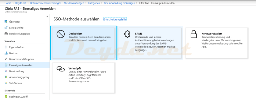 SSO_Methode SAML Single-Signon Citrix FAS