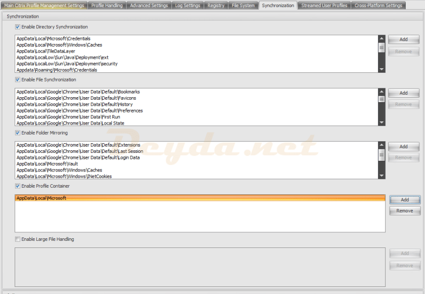 Synchronization Citrix Profile Management Settings
