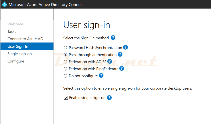 User sign-in Pass-through authentication