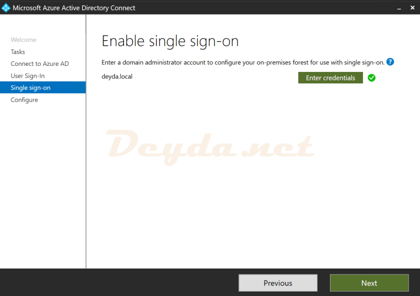 Single sign-on Enable single sign-on Enter credentials