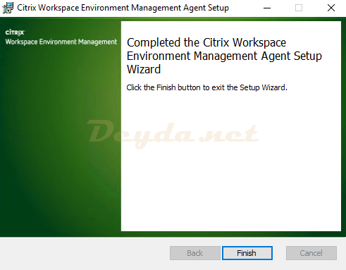 Completed the Citrix Workspace Environment Management Agent Setup Wizard